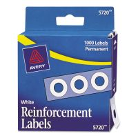 """Avery Dispenser Pack Hole Reinforcements, 1/4"""" Dia, White, 1000/Pack AVE05720"""