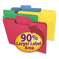 Smead SuperTab Colored File Folders, 1/3 Cut, Letter, Assorted, 100/Box SMD11987