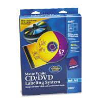 Avery CD/DVD Design Labeling Kits, Matte White, 40 Inkjet Labels and 10 Inserts AVE8965