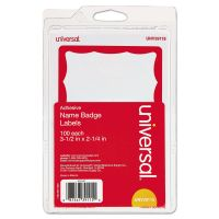 Universal Border-Style Self-Adhesive Name Badges, 3 1/2 x 2 1/4, White/Red, 100/Pack UNV39115