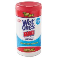 "Wet Ones Wet Ones Big Ones Antibacterial Wipes, 4 1/2"" x 8"", White, 65 Wipes, 6 Boxes/CT PLX00501"