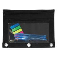 Advantus Binder Pouch with PVC Pocket, 9 1/2 x 7, Black, 6/Pack AVT94036