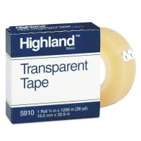 """Highland Transparent Tape, 3/4"""" x 1296"""", 1"""" Core, Clear MMM5910341296"""