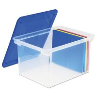 Storex Plastic File Tote Storage Box, Letter/Legal, Snap-On Lid, Clear/Blue STX61508U01C
