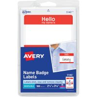 "Avery ""Hello my name is"" Adhesive Name Tags  AVE5140"