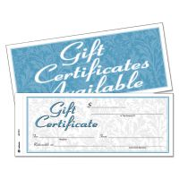 Adams Gift Certificates w/Envelopes, 8 x 3 2/5, White/Canary, 25/Book ABFGFTC1