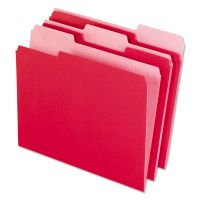 Pendaflex Interior File Folders, 1/3 Cut Top Tab, Letter, Red, 100/Box PFX421013RED