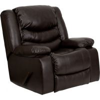 Flash Furniture Plush Brown Leather Lever Rocker Recliner with Padded Arms FHFMENDSC01078BRNGG