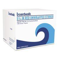 "Boardwalk Unwrapped Single-Tube Stir-Straws, 5 1/4"", Red, 1000/Pack BWKSTRU525R10PK"