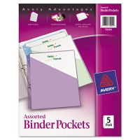 Avery Binder Pockets, 3-Hole Punched, 9 1/4 x 11, Assorted Colors, 5/Pack AVE75254