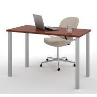 "Bestar 24"" x 48"" Table with square metal legs in Bordeaux BESBES6585539"