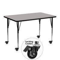 Flash Furniture Mobile 24''W x 48''L Rectangular Activity Table with 1.25'' Thick High Pressure Grey Laminate Top and Standard Height Adjustable Legs FHFXUA2448RECGYHACASGG