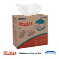 WypAll* X50 Cloths, POP-UP Box, 9 1/10 x 12 1/2, White, 176/Box, 10 Boxes/Carton KCC83550