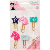 Shimelle Glitter Girl Paper Clips 6/Pkg NOTM092267