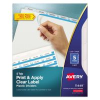 Avery Index Maker Print & Apply Clear Label Plastic Dividers, 5-Tab, Clear Tab, Letter, 1 Set AVE11449