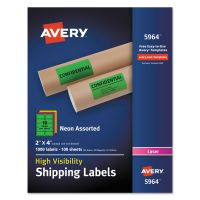 Avery Neon Shipping Label, Laser, 2 x 4, Neon Assorted, 1000/Box AVE5964