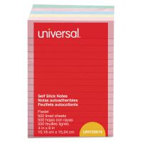 Universal Self-Stick Note Pads, 4 x 6, Lined, Assorted Pastel Colors, 100-Sheet, 5/PK UNV35616