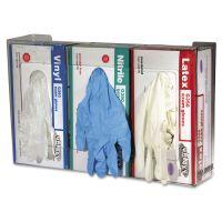 San Jamar Clear Plexiglas Disposable Glove Dispenser, Three-Box, 18w x 3 3/4d x 10h SJMG0805