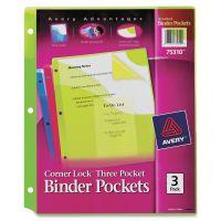 Avery Corner Lock Three-Pocket Binder Pocket, 11 1/4 x 9 1/4, Assorted Color, 3/Pack AVE75310