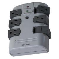 Belkin Pivot Plug Surge Protector, 6 Outlets, 1080 Joules, Gray BLKBP106000