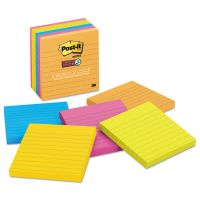 Post-it Notes Super Sticky Pads in Rio de Janeiro Colors, Lined, 4 x 4, 90-Sheet, 6/Pack MMM6756SSUC