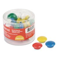 "Universal Assorted Magnets, Plastic, 5/8"" dia, 1"" dia, 1 5/8"" dia, Asst Colors, 30/Pack UNV31250"