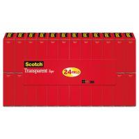 """Scotch Transparent Tape, 3/4"""" x 1000"""", 1"""" Core, Clear, 24/Pack MMM600K24"""