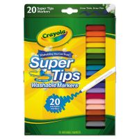 Crayola Washable Super Tips Markers, Assorted, 20/Set CYO588106