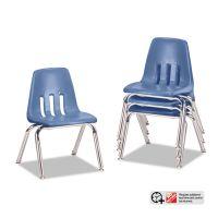 "Virco 9000 Series Classroom Chairs, 10"" Seat Height, Blueberry/Chrome, 4/Carton VIR901040"