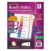 Avery Ready Index Customizable Table of Contents, Asst Dividers, 8-Tab, 11 x 9 1/2 AVE11163