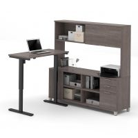 Bestar Pro-Linea L-Desk with Hutch including Electric Height Adjustable Table in Bark Gray BESBES12085847