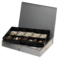 SteelMaster Extra-Wide Steel Cash Box w/10 Compartments, Key Lock, Gray MMF2215CBTGY