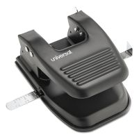 "Universal 30-Sheet Two-Hole Punch, 9/32"" Holes, Black UNV74222"