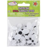 Paste-On Oval Googly Eyes Assorted 10mm To 19mm 80/Pkg NOTM154166
