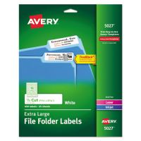 Avery X-Large 1/3-Cut File Folder Labels w/TrueBlock, 15/16 x 3 7/16, White, 450/Pack AVE5027