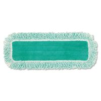 """Rubbermaid Commercial Dust Pad w/Fringe, Microfiber, 18"""" Long, Green RCPQ418GN"""