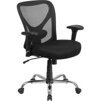 Flash Furniture HERCULES Series Big & Tall Mesh Swivel Task Chair with Height Adjustable Back and Arms FHFGO2032GG