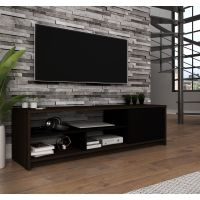 Bestar Small Space 53.5-inch TV Stand in Dark Chocolate and Black BESBES162001179