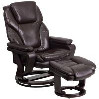 Flash Furniture Contemporary Brown Leather Recliner and Ottoman with Swiveling Mahogany Wood Base FHFBT70222BRNFLAIRGG