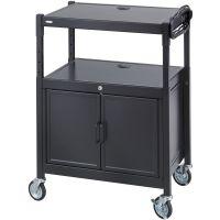 Safco AV Adjustable Cart With Locking Cabinet, 26-3/4w x 20-1/2d x 26 to 42h, Black SAF8943BL