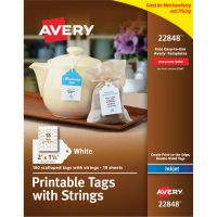 Avery Printable Scalloped Edge Tags with Strings, 2 x 1 1/4, White, 180 Tags AVE22848