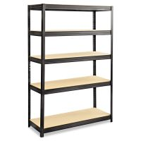 Safco Boltless Steel/Particleboard Shelving, Five-Shelf, 48w x 18d x 72h, Black SAF6246BL