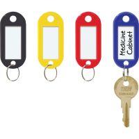 MMF Industries Color-Coded Key Tags with Label Window, Plastic, 2 x 7/8, Assorted, 20/Pack MMF201400647