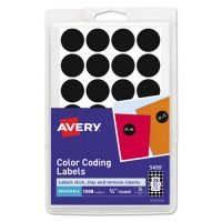 "Avery Handwrite Only Removable Round Color-Coding Labels, 3/4"" dia, Black, 1008/Pack AVE05459"