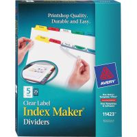 Avery Print & Apply Clear Label Dividers, 5-Tab, Multi-color Tab, Letter, 25 Sets AVE11423
