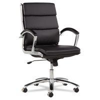 Alera Neratoli Series Mid-Back Swivel/Tilt Chair, Black Leather, Chrome Frame ALENR4219
