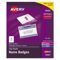 Avery Badge Holder Kit w/Laser/Inkjet Insert, Top Load, 2 1/4 x 3 1/2, White, 100/BX AVE74461