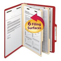 Smead Top Tab Classification Folder, Two Dividers, Six-Section, Letter, Red, 10/Box SMD14003