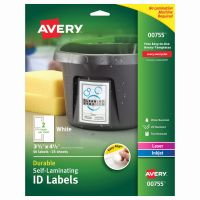 Avery Easy Align Self-Laminating ID Labels, Laser/Inkjet, 3 1/2 x 4 1/2, White, 50/PK AVE00755