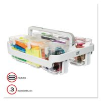 deflecto Stackable Caddy Organizer w/ S, M & L Containers, White Caddy, Clear Containers DEF29003
